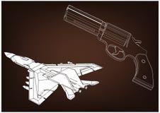 3d model van een pistool Vliegtuigen stock illustratie