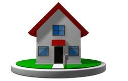 3D model van een plattelandshuisje met rood dak op een witte schijf, met een brievenbus vooraan vector illustratie