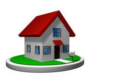 3D model van een plattelandshuisje met rood dak op een witte schijf, met een brievenbus vooraan royalty-vrije illustratie