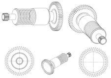 3d model van een tandrad op een wit vector illustratie