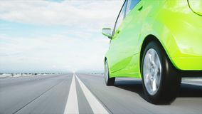 3d model van elektrische groene auto met 3d model van de mens render Het concept van de ecologie het 3d teruggeven Stock Foto
