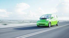 3d model van elektrische groene auto met 3d model van de mens render Het concept van de ecologie het 3d teruggeven Stock Fotografie