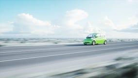 3d model van elektrische groene auto met 3d model van de mens render Het concept van de ecologie het 3d teruggeven Stock Foto's