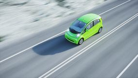 3d model van elektrische groene auto met 3d model van de mens render Het concept van de ecologie het 3d teruggeven Royalty-vrije Stock Foto