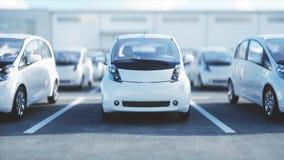 3d model van elektrische nieuwe auto's in voorraad De Auto's van het autohandel drijven voor Verkoop Het concept van de ecologie  Royalty-vrije Stock Fotografie