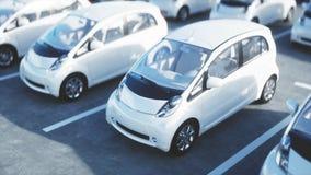 3d model van elektrische nieuwe auto's in voorraad De Auto's van het autohandel drijven voor Verkoop Het concept van de ecologie  Royalty-vrije Stock Afbeeldingen