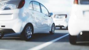3d model van elektrische nieuwe auto's in voorraad De Auto's van het autohandel drijven voor Verkoop Het concept van de ecologie  Stock Fotografie