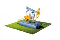 3d model van grond met gras en oliepomphefboom die op whi wordt geïsoleerd Royalty-vrije Stock Fotografie