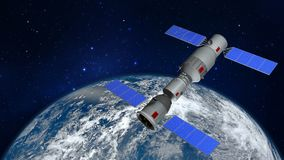 3D model van het Chinese ruimtestation Tiangong die de aarde cirkelen Royalty-vrije Stock Afbeelding