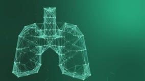 3d model van long geometrisch model van lichtgevende lijnen blauwe geneeskunde stock videobeelden