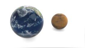 3d model van planeet Mars en Aarde De aarde roteert op een witte achtergrond royalty-vrije illustratie