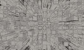 3D model van stad 3d teruggevende illustratie Stock Foto