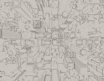 3D model van stad 3d teruggevende illustratie Stock Afbeeldingen