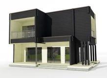 3d model van zwart-wit blokhuis op een witte achtergrond. Stock Foto's
