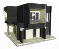 3d model van zwart-wit blokhuis op een witte achtergrond. Stock Foto
