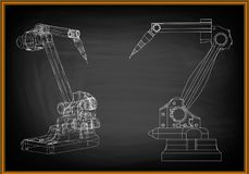 3d model of a welding robot. On a black background. Drawing Stock Images