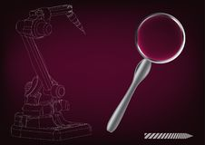 3d model of a welding robot. On a burgundy background. Drawing Stock Photos