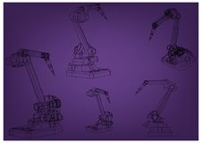 3d model of a welding robot. On a purple background. Drawing Stock Images