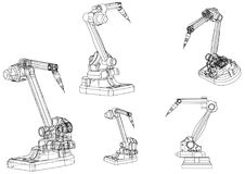 3d model of a welding robot. On a white background. Drawing Stock Photography