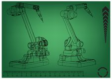 3d model of a welding robot. On a green background. Drawing Royalty Free Stock Photo