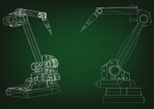 3d model of a welding robot. On a green background. Drawing Royalty Free Stock Image