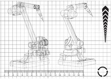 3d model of a welding robot. On a white background. Drawing Stock Images
