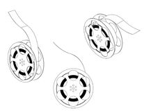 3d model wheels for a film. On a white background. Drawing Royalty Free Stock Photography