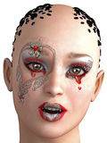 3D model of woman in fantasy makeup Royalty Free Stock Photos