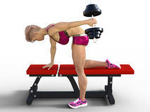 3D model of woman lifting dumbbell Stock Images