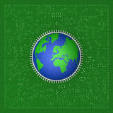 World circuit. 3D model of world on circuit board Stock Images