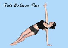 3d Model in Yoga Pose - Side Balance Pose Stock Photo