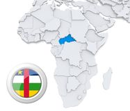 Central African republic on Africa map. 3D modeled Map of Africa with highlighted state of Central African republic with national flag Stock Photos