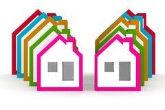 3d modella il simbolo delle case Immagini Stock