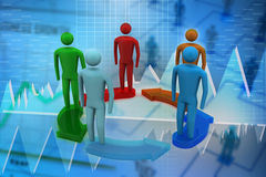 3d modelling people connected. In blue colour background Stock Images
