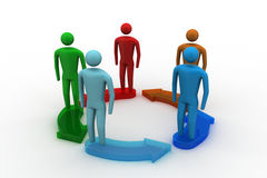 3d modelling people connected. In white background Royalty Free Stock Images