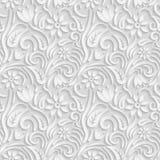3D modello bianco senza cuciture, modello floreale naturale, vettore La struttura senza fine può essere usata per la carta da par Immagini Stock Libere da Diritti