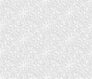 3D modello bianco senza cuciture, modello floreale, ornamento indiano, motivo persiano Fotografia Stock