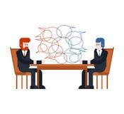 3 d modelu biznesowego abstrakcyjnych negocjacji Dwa biznesmena siedzą stół enter royalty ilustracja