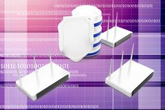 3d modem network with database and shield illustration Royalty Free Stock Photography
