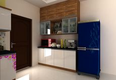 3D Modern Kitchen interior design. A kitchen is a room or part of a room used for cooking and food preparation. In the West, a modern residential kitchen is Royalty Free Stock Image