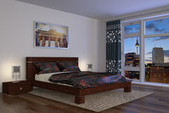 3d - modern bedroom - hotel. 3d rendering of a comfortable apartment with bedroom - hotel Stock Photography