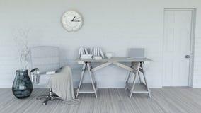 3D modern binnenland in schaduwen van wit Stock Afbeelding
