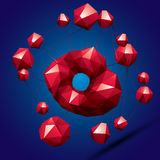 3D modern bright abstract construction, origami facet object con. Structed from different geometric parts Royalty Free Stock Image