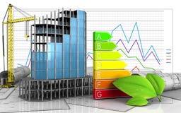 3d of modern building frame. 3d illustration of modern building frame with crane over business graph background Stock Image