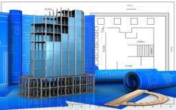 3d of modern building frame. 3d illustration of modern building frame with drawing roll over blueprint background Stock Photo