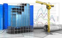 3d of modern building frame. 3d illustration of modern building frame with drawing roll over business graph background Royalty Free Stock Images