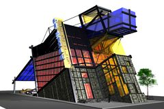 3D modern building with stained glass. Description: 3D modern building with stained glass. In deconstruction style. General view. Art Cafe building of red Stock Photography