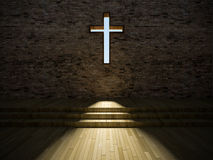 3d modern church interior Royalty Free Stock Image