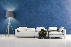 3d modern interior design with blue wall. 3d modern clean interior design with blue wall vector illustration