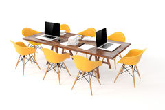 3d modern computer workplace, conference table Stock Image